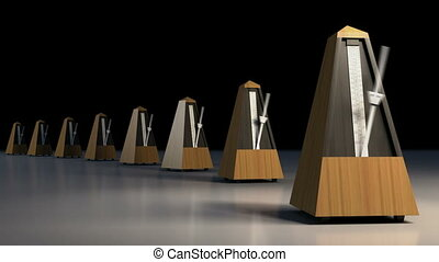 A line of ticking metronomes. - A line of ticking...