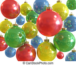 Background of multiple color christmas shiny balls isolated