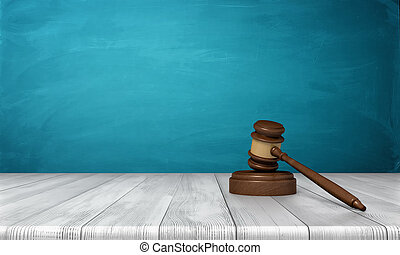 3d rendering of a brown wooden judge gavel and sound block lying on a wooden table against blue background.