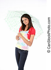 woman standing with umbrella