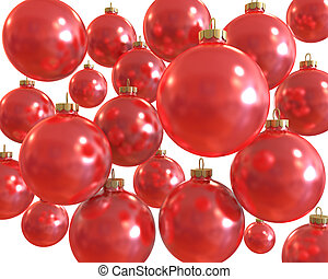 Background of red christmas shiny balls  isolated