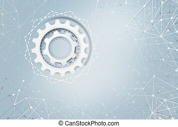 Industrial gears over futuristic background. Technology...
