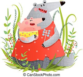 Bear Young Mother or Nanny with Infant - Happy animal baby...