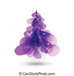 Purple Christmas tree with blurred lights on white background.