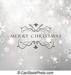 Christmas silver background with snow flakes and Merry Christmas text.