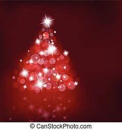 Lighted up Christmas tree with many lensflares on red background.