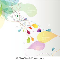 Abstract colored illustration with flower petals and place for your text.