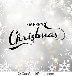 Christmas silver background with snowflakes and Merry Christmas text.