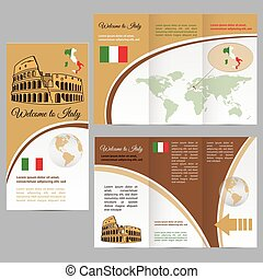 Traveler's guide or banner with a map - Traveler's guide or...