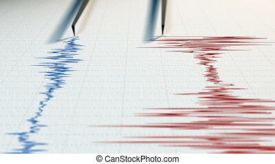 Close view of a seismograph with two arrows drawing with red...