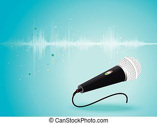 Abstract digital sound wave oscillating with Microphone background.