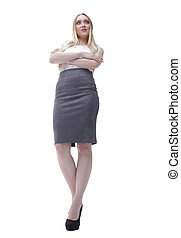 modern successful young business woman. full-length. view from below.