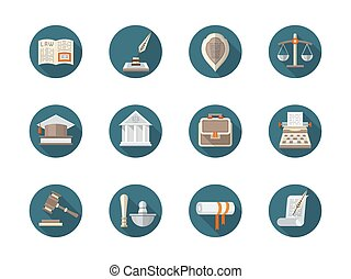 Law firm flat round vector icons set - Abstract symbol of...