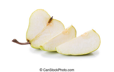 Pear with a cut isolated on white background
