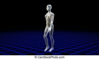 Wireframe woman walking viewed from all angles, seamless...