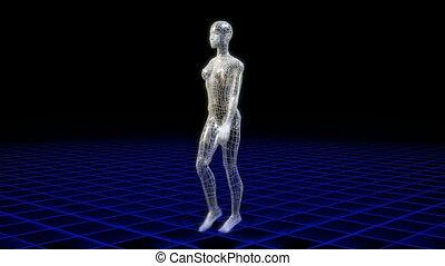 Wireframe woman walking
