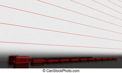A growing graph of red glass bars