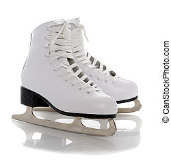 figure skates - figure white skates isolated on white...
