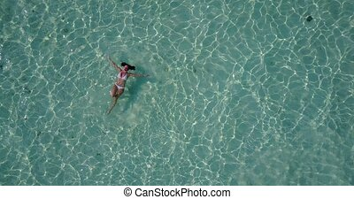 v06319 Aerial flying drone view of Maldives white sandy...