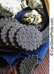 Charcoal Biscuits and Stilton Cheese - Charcoal biscuits and...