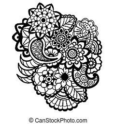 Mehndi design. Floral pattern.