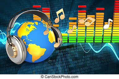 3, värld, hörlurar, spektrum, audio