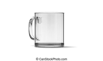 Blank glass tea mug mockup isolated, looped rotation, 3d...