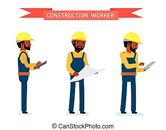Set of male construction worker, the worker looks at the...