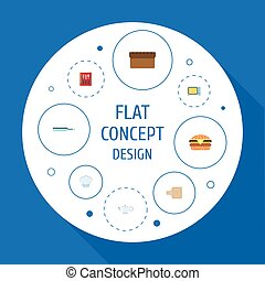Flat Icons Cooking Notebook, Breadboard, Teapot And Other...