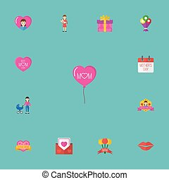 Happy Mother's Day Flat Icon Layout Design With Kiss, Sticker And Envelope Symbols. Lovely Mom Beautiful Feminine Design For Social, Web And Print.