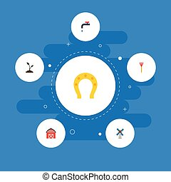 Flat Icons Talisman, Cultivator, Storehouse And Other Vector...
