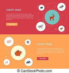 Flat Icons Jackass, Kine, Pony And Other Vector Elements....