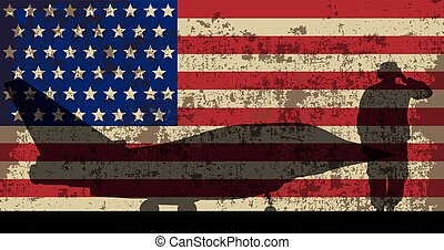 Military aircraft and serviceman on the background of the US flag..eps