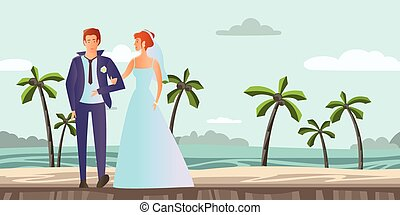 Couple in love. Young man and woman at the wedding on a tropical beach with palm trees. Vector illustration.