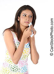 teenage girl with tissue paper