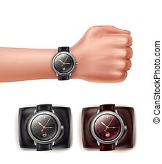 Hand with watches - Vector wrist watches different colors...