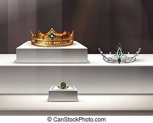 Jewelry window display - Vector illustration of jewelry in a...