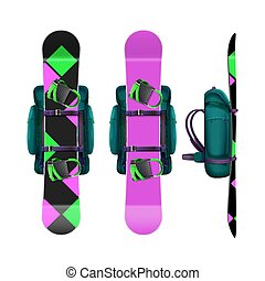 Snowboards with bindings and backpack - Vector backpacks...