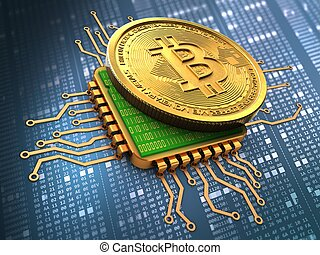 3d bitcoin with cpu gold - 3d illustration of bitcoin over...