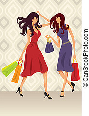 Shopping Girls - Vector illustration of two girls on a...