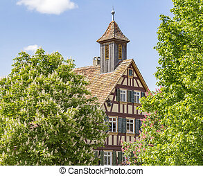 half-timbered house detail - detail of a historic...