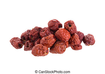 Dried jujube fruits chinese herbal medicine on a white...