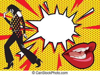 Pop Art Burst - Vector pop art painting of a woman