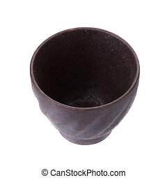 Black traditional tea cup of cast iron isolated on white...