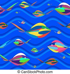 Multi-colored fish in the deep waters of the waves. Seamless...
