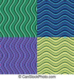 Vector waves in different colors. Arranged with a certain rhythm Seamless pattern.