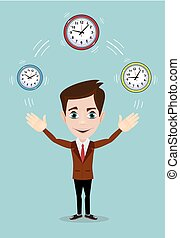 Businessman plays with Time, symbolizing time management....