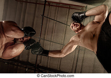 Two muscular men fighting, bodybuilders punching each other,...
