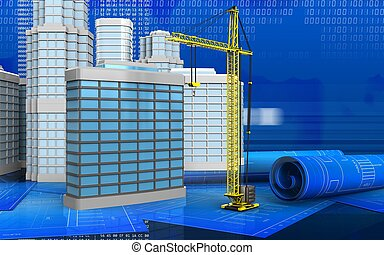 3d with urban scene - 3d illustration of generic building...
