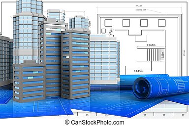3d with urban scene - 3d illustration of city buildings with...